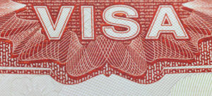 H-1B visa with red background