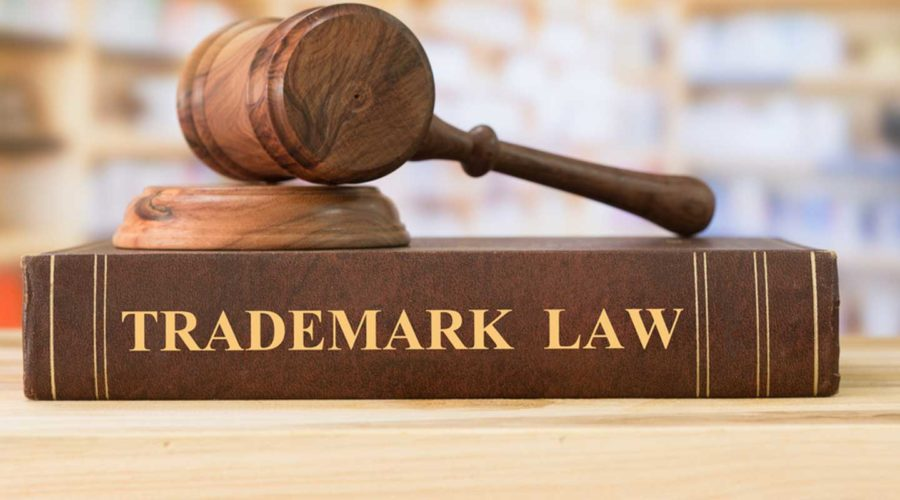 Gavel on top of trademark law book