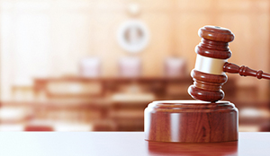 gavel in court for registering a trademark