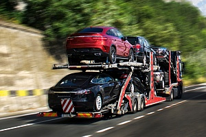 Trucks on highway carrying cars