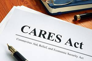 CARES act document sitting on desk